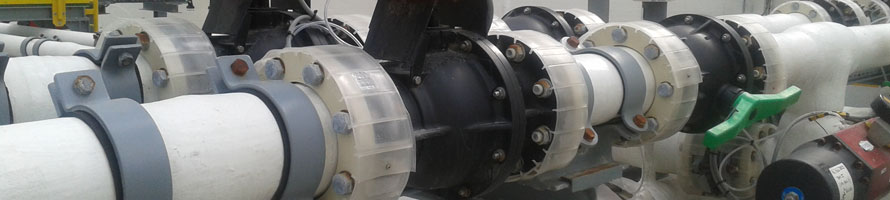 Thermoplastic SAFI manual ball valves installed in chemical and petrochemical industry