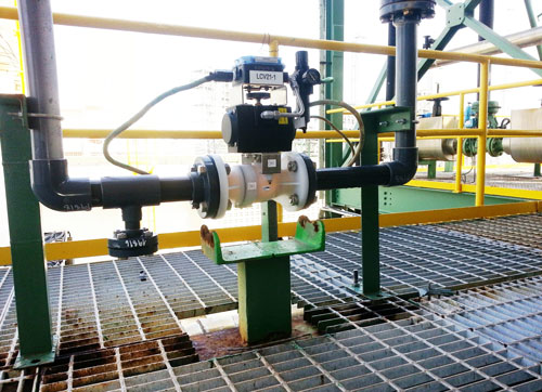 Techlink flow control valve installed in a Chlore-Alkali plant
